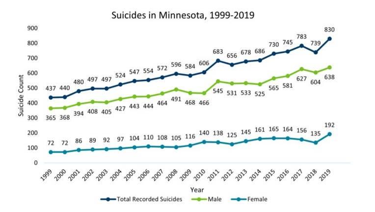 suicides data Minnesota