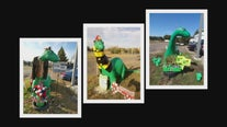 Dressed up dinosaur turns heads at Minnesota gas station