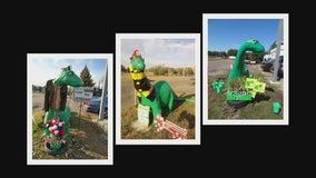 Dressed up dinosaur turns heads at Minnesota gas station