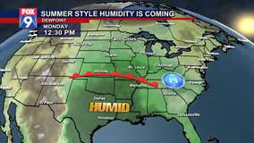 Summer-style humidity is coming