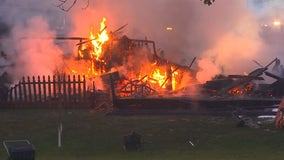 House destroyed in fire in Maple Grove, neighboring houses damaged