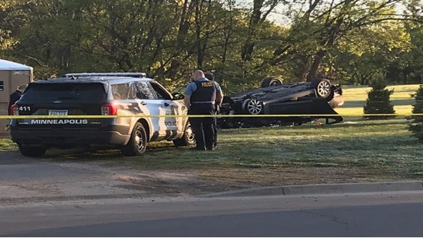 Car flips, rolls on top of driver in fatal Minneapolis crash