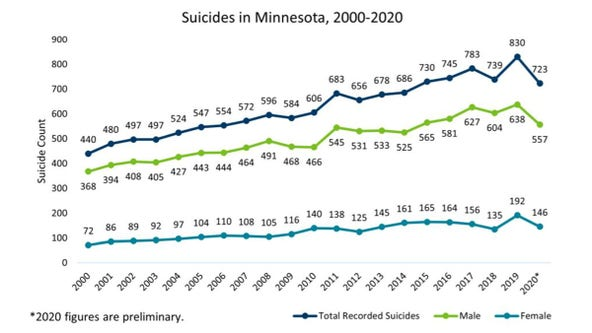 Suicides decreased in Minnesota in 2020 after hitting record high in 2019