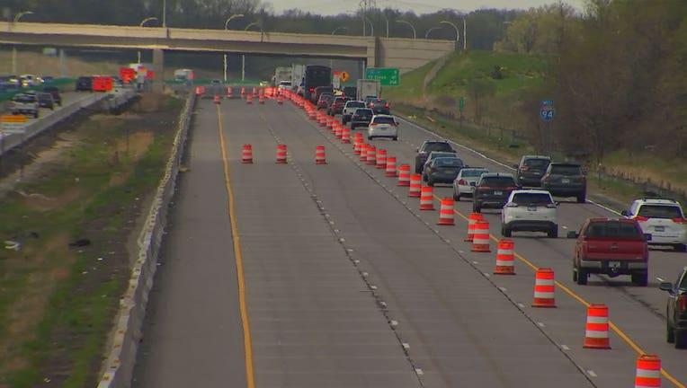 Orange cones on I-94