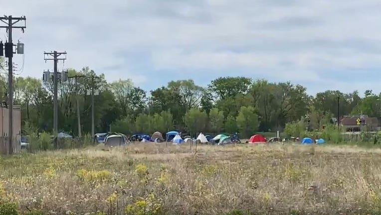Encampment at church