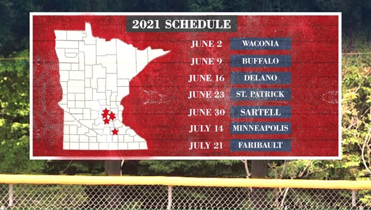2021 FOX 9 Town Ball Tour schedule.
