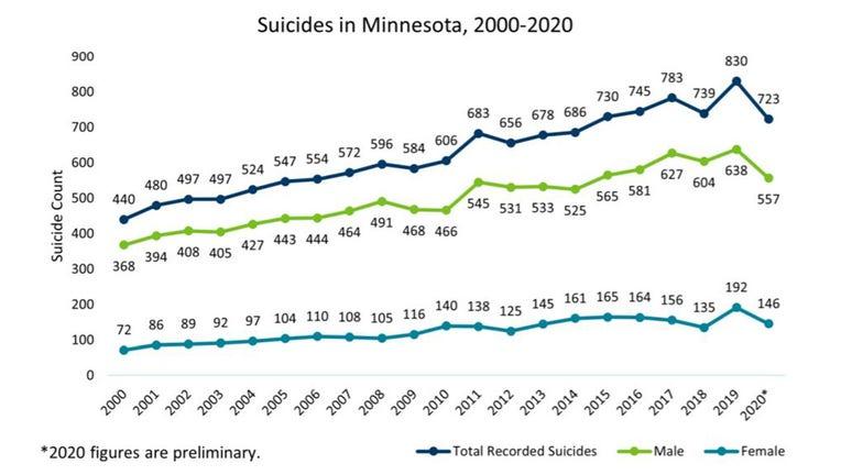Suicides in Minnesota, 2000-2020