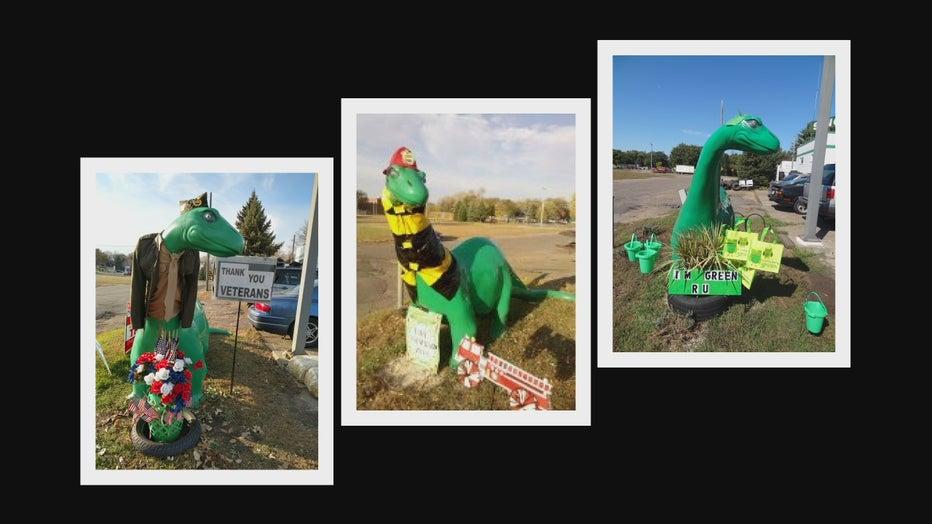 3 photos dinosaur