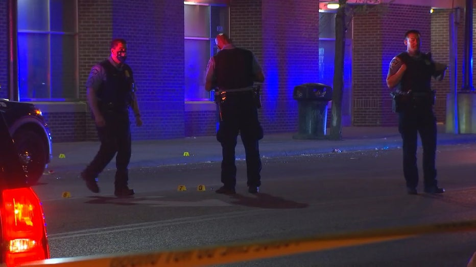 Minneapolis police officers investigating a homicide