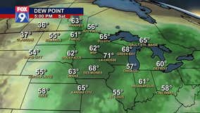 Dew points will gradually rise in later half of this week