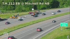 Road crews repair pavement that buckled in hot temps along Hwy 212 in Eden Prairie