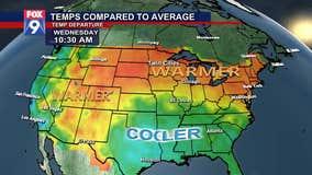 Temperatures compared to average