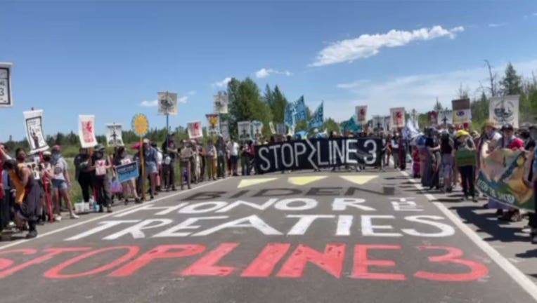 Protesters Line 3 pipeline