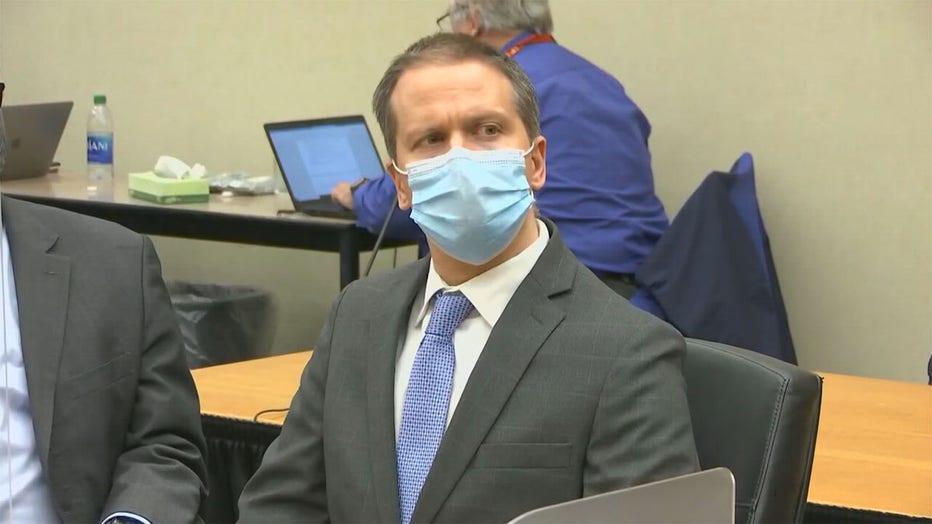 Derek Chauvin in court on April 20, 2021.