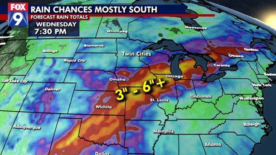 Rain chances over the next few days
