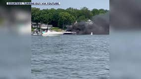 Video: Boat catches fire on Lake Minnetonka Saturday