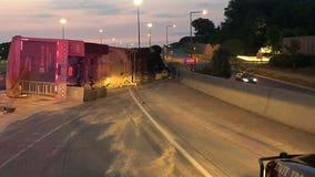Semi rollover, grain spill closes Hwy. 169 ramp to I-494