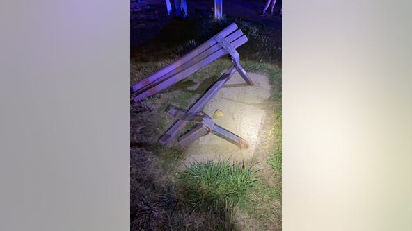 2 seriously injured after driver crashes into park bench in Hudson, Wis.