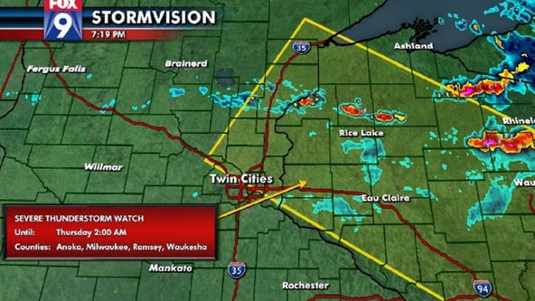 Severe thunderstorm watch issued for parts of eastern Minnesota, western Wisconsin