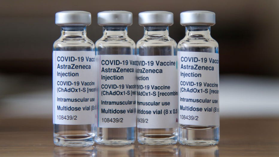 Vials containing Oxford/AstraZeneca Covid-19 vaccine are