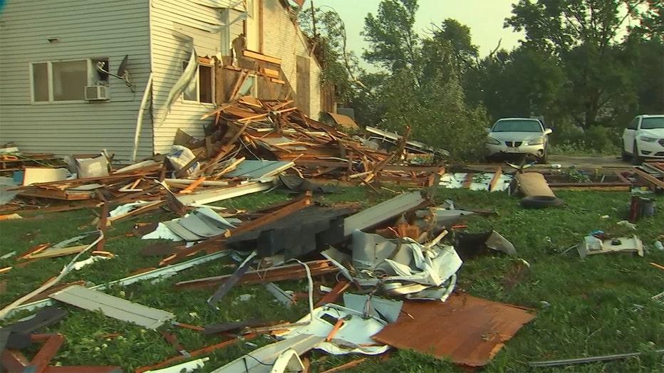 Storm damage in New Richmond, Wisconsin.