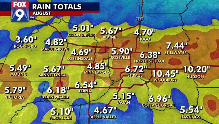 Rain totals for August in Twin Cities metro.