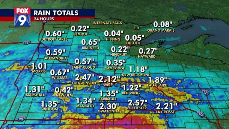 rain totals thurs into fri