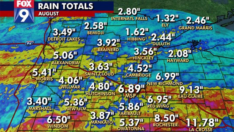 Rain falls across Minnesota in August.