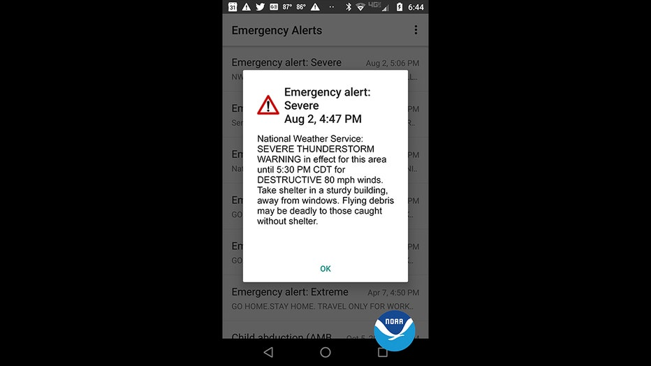 wireless emergency alert destructive storms