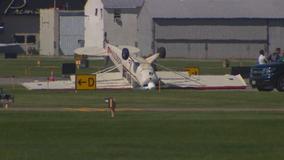 Plane flips over during landing at Eden Prairie's Flying Cloud Airport