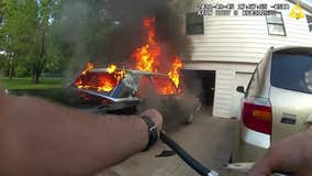 Bodycam video: Deputy pulls burning car away from home in Chisago County