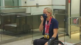 Paralympic gold medalist swimmer Mallory Weggemann gets warm welcome home at MSP Airport