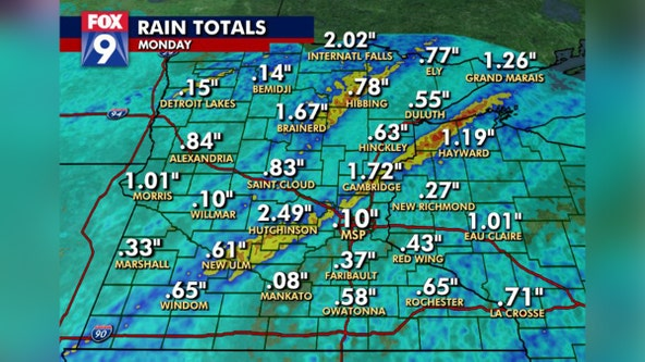 Rain totals: Cold front brings 1-3 inches to parts of Minnesota, including NW metro