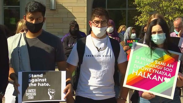 University of St. Thomas students rally against white supremacist signs left on campus