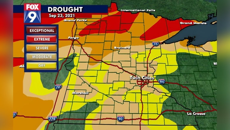 Drought monitor for September 23, 2021.
