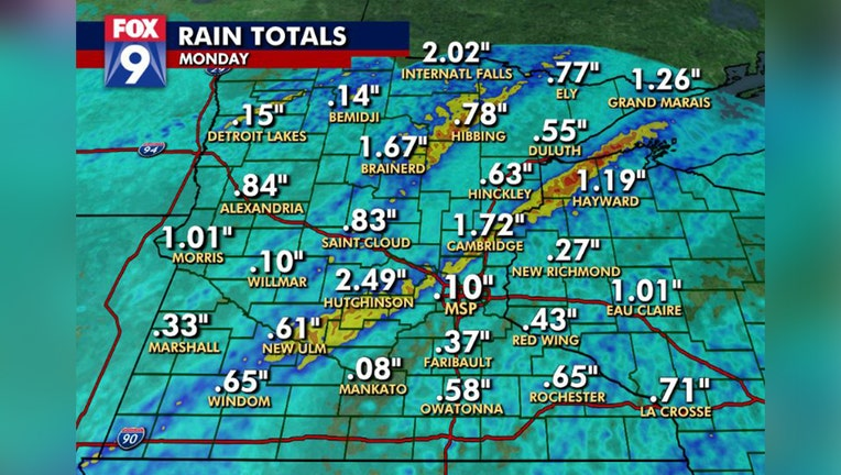 Rain totals across Minnesota on Monday, Sept. 20.