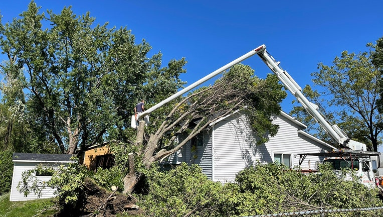 Storm damage in Savage, Minnesota.