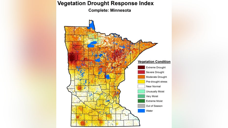 Vegetation Drought Response Index in Minnesota.
