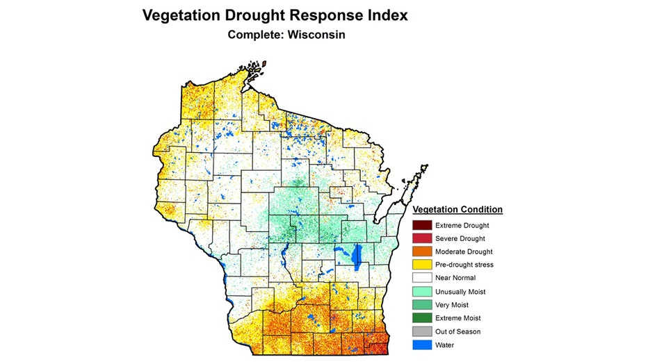 Vegetation Drought Response Index for Wisconsin.