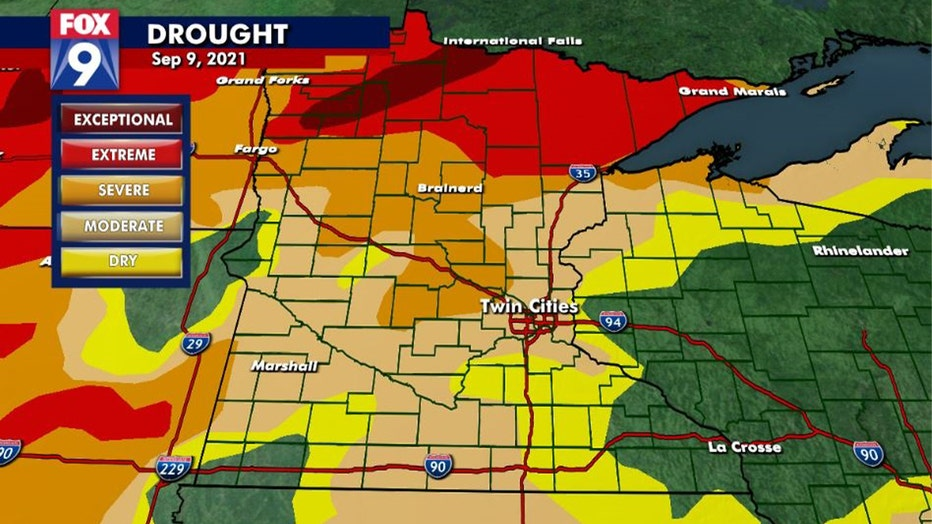 Drought monitor as of September 9, 2021.