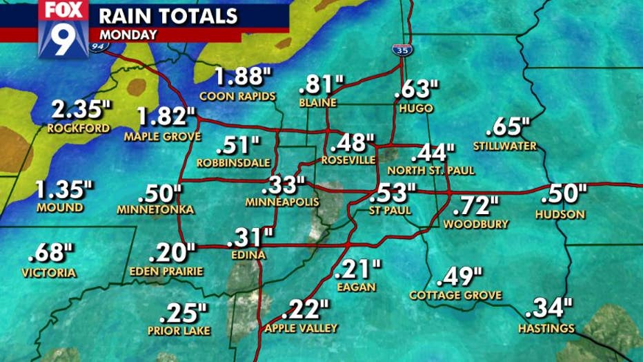 Rain totals in the Twin Cities metro on Monday, Sept. 20.