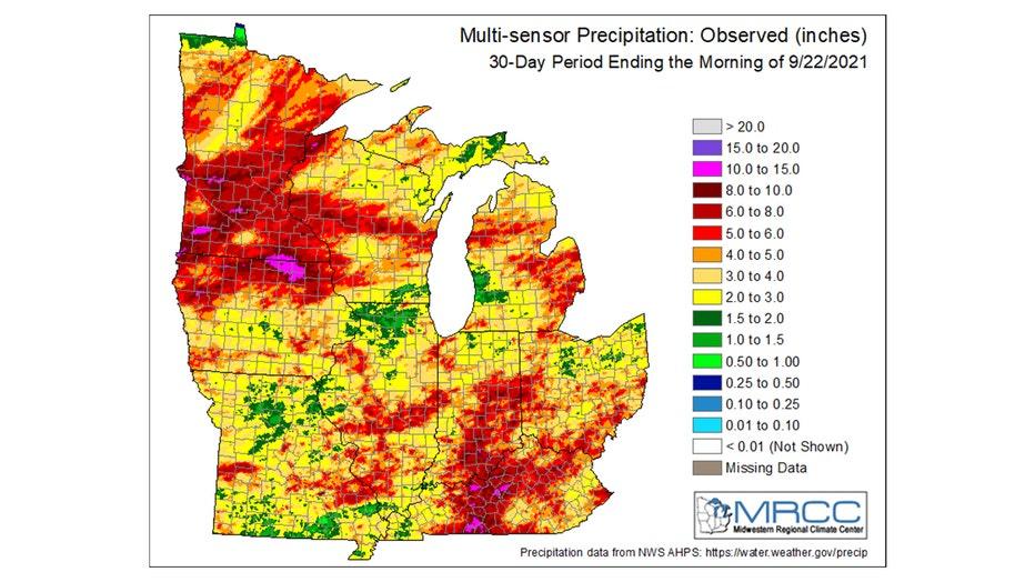 Rainfall over the last 30 days.
