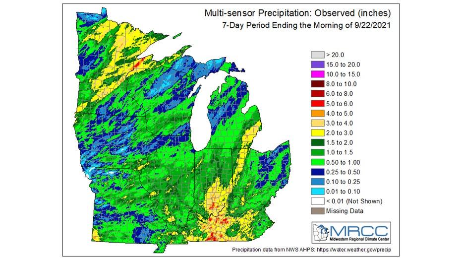 Rainfall over the last seven days.