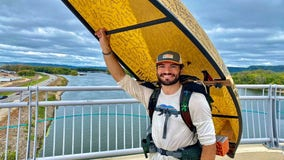 Man completes 313 mile journey carrying canoe for life-saving mission