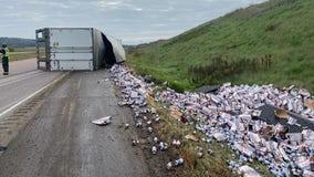 Semitruck hauling Leinenkugel's beer crashes on I-94 in Wisconsin