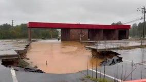 Heavy rain in North Carolina floods mountain areas, fills massive sinkhole