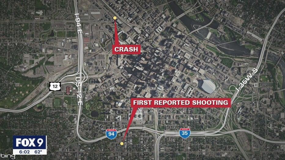 Minneapolis deadly shooting and crash map