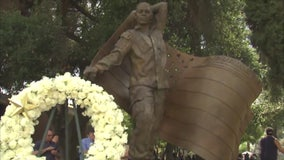 Sculpture, restored mural unveiled on Memorial Day