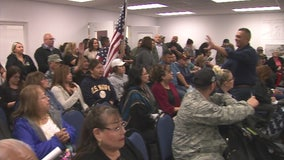 Dozens gather to protest Pico Rivera teacher who bashed military