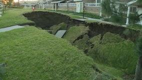 Massive sinkhole opens between buildings in La Habra